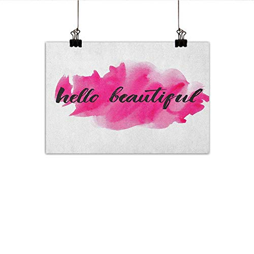 """Littletonhome Hello Chinese Classical Oil Painting Inspiring and Motivational Quote in Hand Lettering Calligraphic Design on Pink for Living Room Bedroom Hallway Office 27""""x20"""" Magenta Black"""