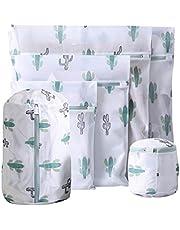TOPBATHY 6pcs Mesh Laundry Bags Delicates Washing Bags Fine Zipper Underwear Wash Bags for Sweater Blouse Hosiery Bras Travel Storage Organization(Cactus)