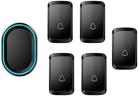 ワイヤレスドアベル、5つのプッシュボタンと1つのレシーバー、防水壁プラグインコードレスドアチャイム(LEDフラッシュ付き)、300Mレンジ、58着メロ、4ボリュームレベル,黒
