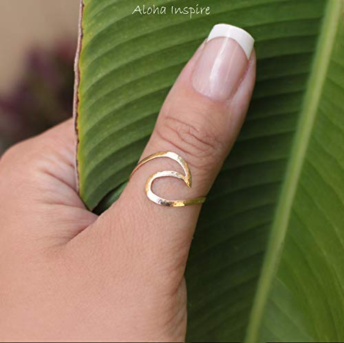 (Wave Ring Nalu Ring Gold Ring Surf Ring Beach Ring Gold Filled Ring Gold Wave Ring Hammered Ring Textured Ring Ocean Jewelry Tropical Ring)