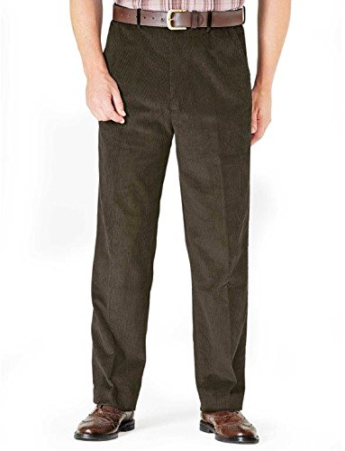 - Mens Luxury Cotton HIGH-Rise Corduroy Adjustable Pleated Trouser Pants Olive 40W x 27L