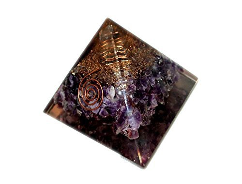 (Top Quality Exquisite A++ Amethyst Orgone Pyramid Free Booklet Jet International Crystal Therapy, Rainbow)
