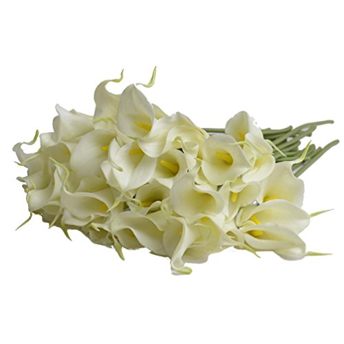 10 Pcs/Set Real Touch Artificial Calla Artificial Flowers for Home Decor without Vase & Basket, Light Yellow (Basket Yellow Lily)