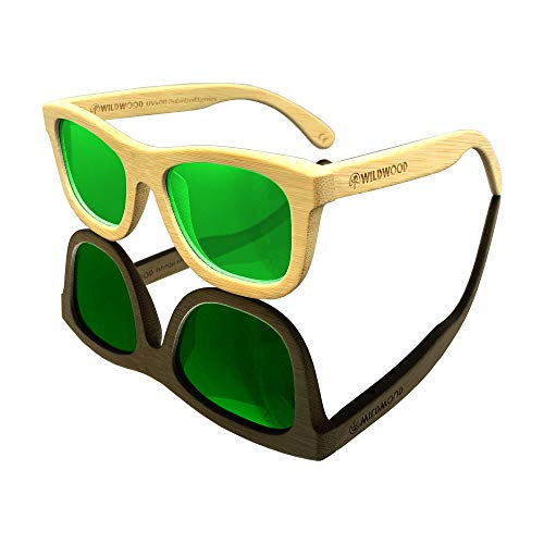 Youth Kids Bamboo Wood Sunglasses for Boys and Girls with Polarized Lenses | 5 to 12 years (Natural Bamboo, Green Mirror) ()