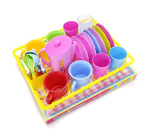 (Pretend Play Dishes And Tea Playset - 27 Piece Kids Serving Dishes, Washable Lightweight And Durable Plastic Material, Includes Most Commonly Used Kitchen Dishes, Great Teapot Gift For Children)