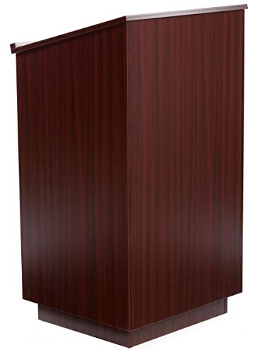 Displays2go 45.5 Inch Tall Podium with Locking Cabinet, Shelf, 25 Inch Angled Surface with Lip, Mahogany (LCTLCKHSTM) (Office Cabinet Mahogany)