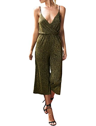 uxcell Spaghetti Crossover Metallic Jumpsuit