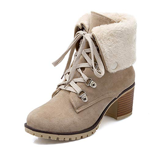 DecoStain Women's Classic Lace Up Block Heel Winter Short Boots with Fur Shoes Keep Warm Ankle ()