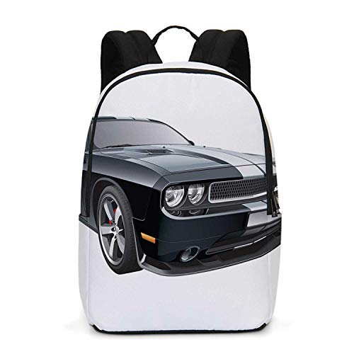 Cars Durable Backpack,Black Modern Pony Car with White Racing Stripes Coupe Motorized Sport Dragster for School Travel,One_Size