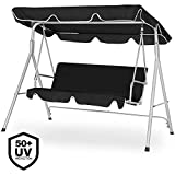 Deuba - 101209 - Swing Bench Seat Garden Canopy Swing Bench Hammock Swinging Furniture Seat / 1x / Black