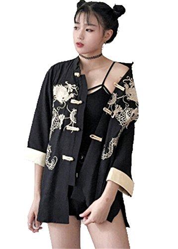 SHUNYI カーディガン 薄手 麻綿 刺繍 レディース 羽織 着物 七分袖 和風 シャツ中華着物 龍 ドラゴン アウター チャイナ風 トップス オシャレ COS カジュアル