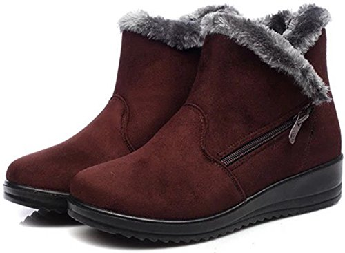 LabatoStyle Womens Mini Winter Fur Lined Warm Snow Boot Brown Nzm2esCG
