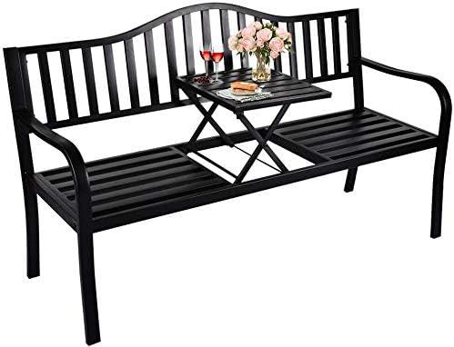 USSerenaY Metal Patio Garden Outdoor Bench