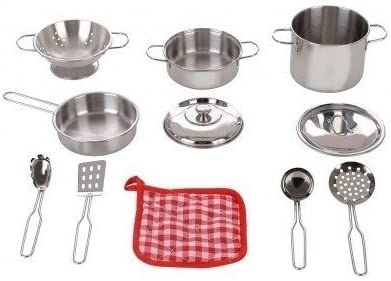 Stainless Steel Cookware 11 Pc Playset Pots Pans Colander Strainer Utensils Oven Mitt by Play Right Walgreens