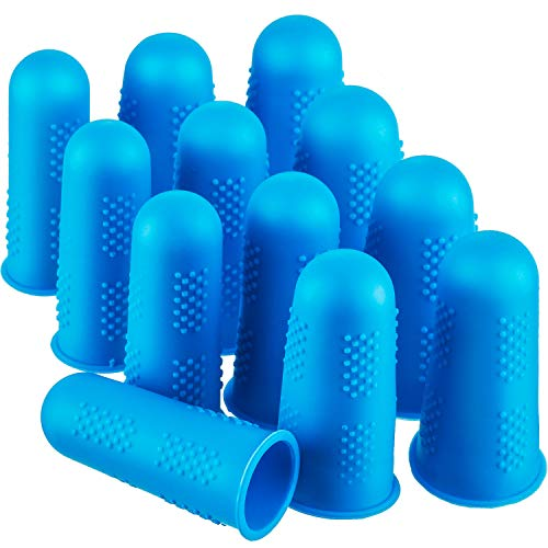Frienda 12 Pieces Hot Glue Gun Finger Caps Silicone Finger Protectors for Hot Glue Wax Rosin Resin Honey Adhesives Scrapbooking Sewing in 3 Sizes (Blue)