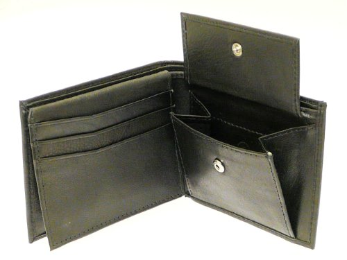 Change Note (Black Leather Wallet 6 Credit Cards 1 ID Card Coins Notes)