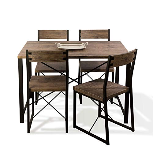 B07CRBD3MQ Atlantic Urban Blend Dining Set - Modern Steel Frame and Wood Grain Laminate, Space Efficient 43.30 x 27.60 x 29.72 inch PN82008064 in Wood/Black