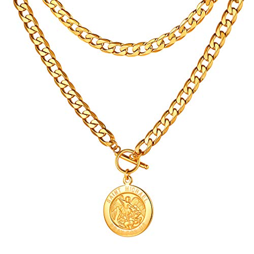 FaithHeart 9MM NK 1:1 Choker Necklace, Customize Available Gift for Women/Men, Gold Plated Saint Michael The Archangel Medal Charms Pendant Necklace (Send Gift Box)