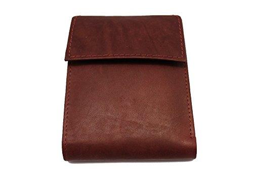 Men's Leather Bi-fold Wallet Snap Flap Welcro Closed JTC-5152- Maroon