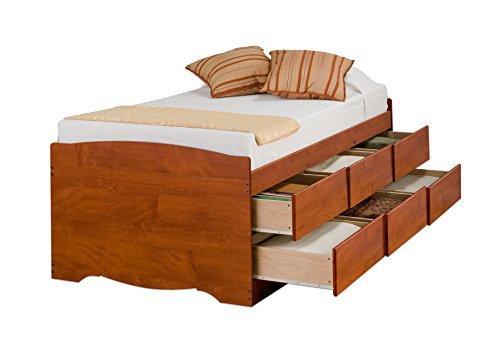 Cherry Tall Twin Captain's Platform Storage Bed with 6 Drawers