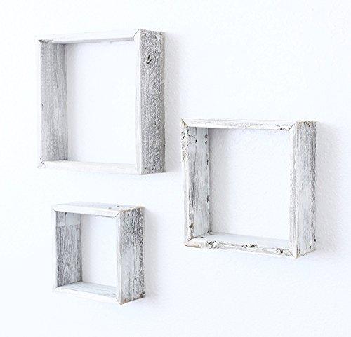 Antique White Rustic Wood - BarnwoodUSA Reclaimed Wooden Shelves - Set of 3 (8x8, 10x10, 12x12, white)