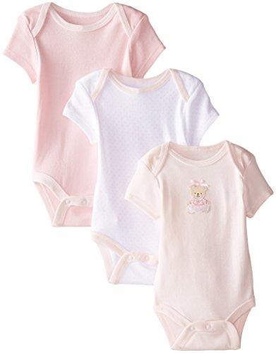 Little Me Baby-Girls Newborn Sweet Bear 3 Pack Bodysuit, Pink/Multi, 9 Months -