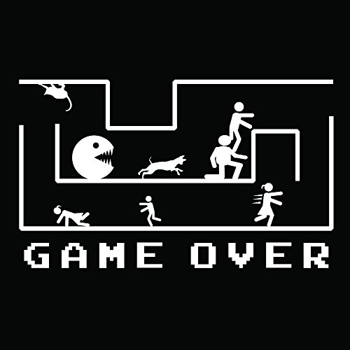 Auto Vynamics - BMPR-GAMEOVER-GWHI - Gloss White Running Stick Figure Family Game Over Graphic Funny Bumper Sticker Decal - Fun Vinyl Graphic / Sticker - (1) Decal - 8.375-by-5-inches from Auto Vynamics