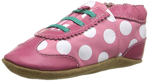 Robeez Dotted Dolly Crib Shoe (Infant), Hot Pink, 6-12 Months M US Infant (Dotted Baby Feet)