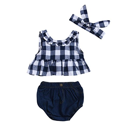 Baby Girls Boys Clothes, VEKDONE Toddler Baby Girl Summer Plaid Skirted T-shirt Tops+Denim Shorts Clothes Set (Dark Blue, Size:6M) ()