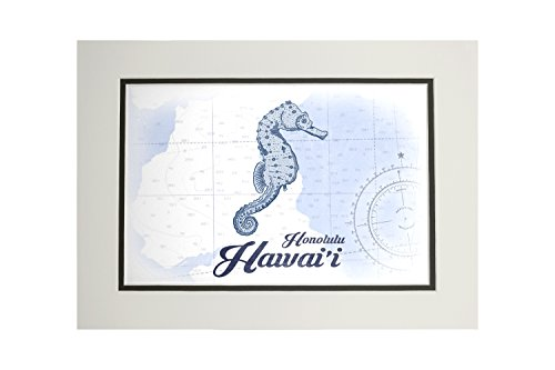 Hawaii Honolulu Paper (Honolulu, Hawaii - Seahorse - Blue - Coastal Icon (11x14 Double-Matted Art Print, Wall Decor Ready to Frame))