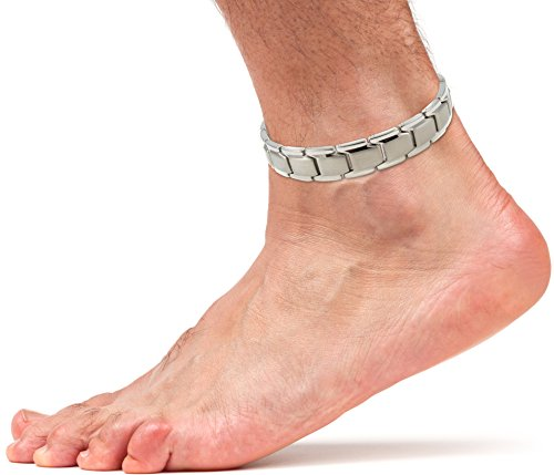 (Elegant Titanium Magnetic Therapy Anklet For Men and Women Arthritis Pain Relief & Inflammation Reduction For Feet And Ankles (Silver))