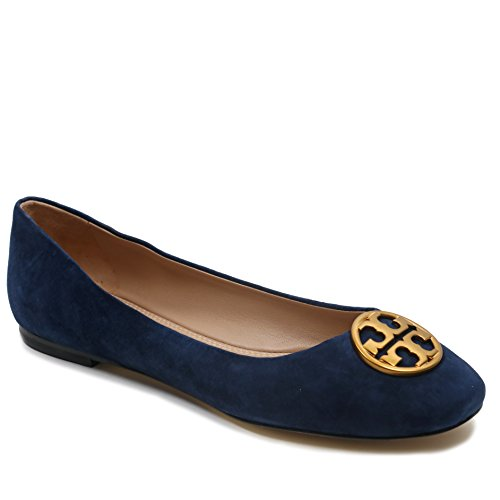 (Tory Burch Chelsea Flat Ballet Shoes Leather (8, Royal Navy))