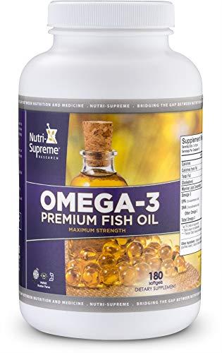 (Nutri-Supreme Research Omega-3 Premium Fish Oil - Maximum Strength - 180 Softgels)
