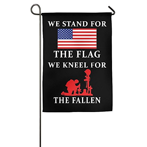 BAO-dan We Stand For The Flag And We Kneel For The Fallen House Flag Garden Flag Yard Banner Garden Stand Flag 12' X 18' (Single Silk 12')