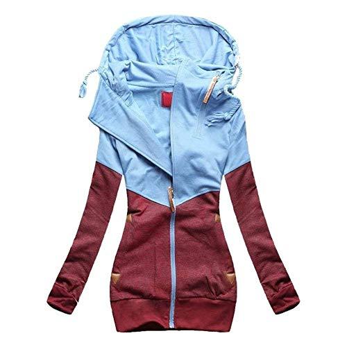 Winered Coat Outerwear clair Gaine Automne Manteau Fermeture Printemps Capuche Poches Patchwork Sweat Ferme Sweat Manches Longues lgant A Costume Femme Casual Capuche Mode B1fRq1xw