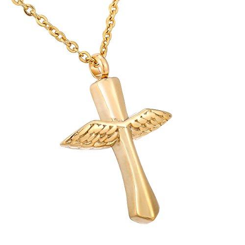 HooAMI Angel Wing Cross Pendant Memorial Urn Necklace Cremation Ashes Keepsake ()