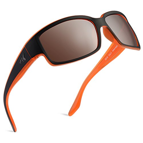 KastKing Skidaway Polarized Sport Sunglasses, Matte Orange Blackout Frame, Copper Base White Steel ()