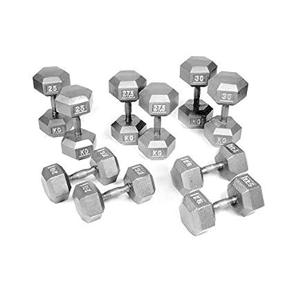 Bodypower 20 – 30 kg Hierro fundido juego de pesas hexagonales (5 pares)
