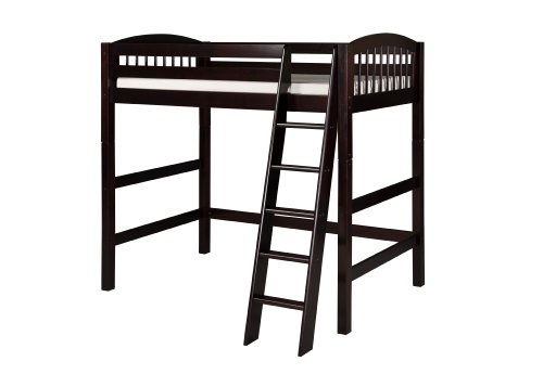 Camaflexi Arch Spindle Style Solid Wood High Loft Bed, Twin, Side Angled Ladder, Cappuccino -