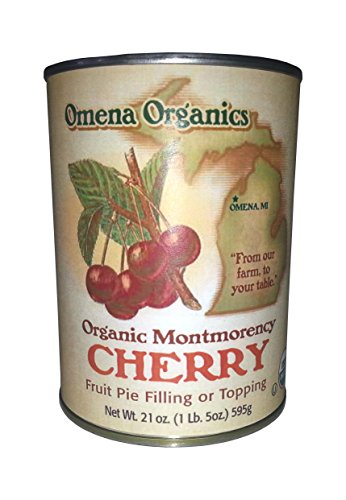 OMENA ORGANICS Organic Cherry Pie Filling Or Topping, 21 OZ (Tart Cherry And Almond)