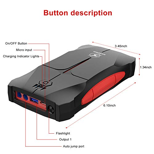 Flylinktech Car Jump Starter 800A Peak 12V (up to 4.0L Gas Or 2.0L Diesel Engine), 12000mAh Portable Power Pack Battery Booster with Smart Safe Jumper Cable, LED Flashlight,Car Cigarette Lighter