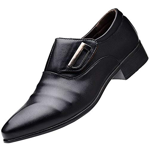 Men's Strap Slip On Loafers Oxford Formal Business Casual Comfortable Classic Leather Dress Shoes for Men Black