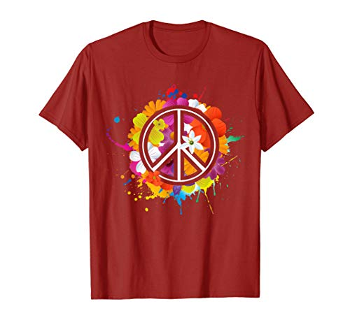 Peace Love Shirt | 60's 70's Hippie Costume Colorful Flowers