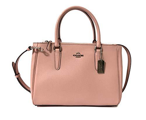 Coach Leather & PVC Surrey Carryall Satchel Crossbody Handbag (SV/Petal)