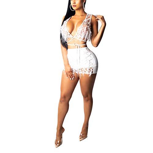 ECHOINE Womens Sexy 2 Piece Outfits Sparkle Deep V Neck Bandage Jumpsuit Clubwear ()