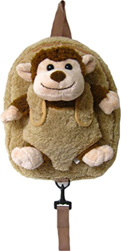 (Children's Safety Harness Backpack with Removable Plush Animal (Brown Monkey))