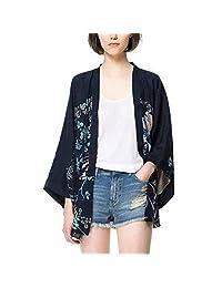 Duevin Mujeres Kimono Cardigan Manga 3/4 Estampado Floral Manga de murciélago Casual Loose Outwear Capas (L)