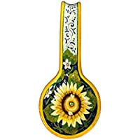 CERAMICHE D'ARTE PARRINI - Italian Ceramic Art Spoon Rest Pottery Holder Hand Painted Decorated Sunflower Made in ITALY Tuscan