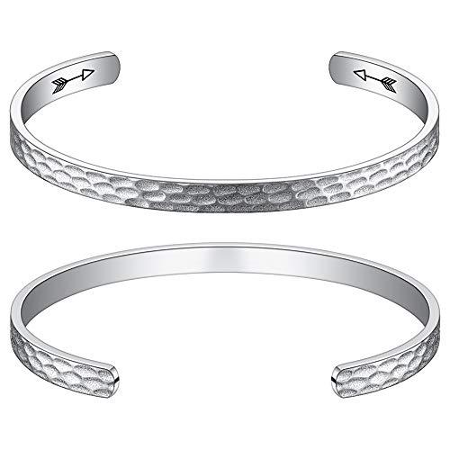 (M MOOHAM Bracelet Birthday Gifts for Women - Inspirational Gift Keep Going Bangle Birthday Bracelets Gifts for Women Silver Cuff Bangle Personalized Mantra)