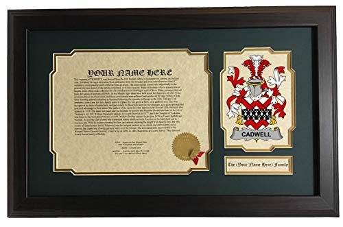Cadwell - Coat of Arms and Last Name History, 14x22 Inches Matted and Framed ()